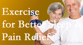 Yorkville Chiropractic and Wellness Centre incorporates the suggestion to exercise into its treatment plans for chronic back pain sufferers as it improves sleep and pain relief.
