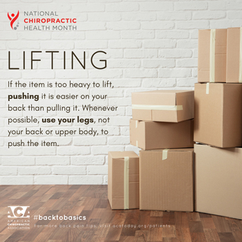 Yorkville Chiropractic and Wellness Centre advises lifting with your legs.