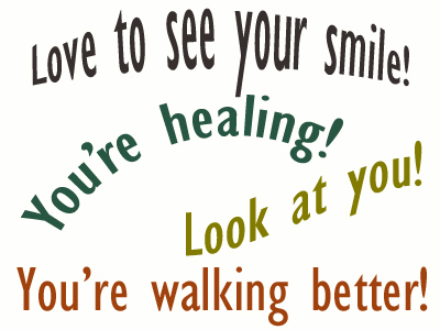 Use positive words to support your Toronto loved one as he/she gets chiropractic care for relief.
