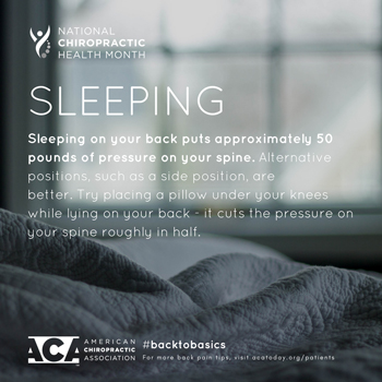 Yorkville Chiropractic and Wellness Centre recommends putting a pillow under your knees when sleeping on your back.